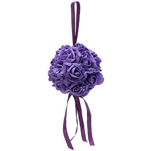 Pennyninis Küssende Pomander-Kugeln, Rosen, Blumen, Form Ball, Schleifen, Hochzeit, Party, Zubehör violett
