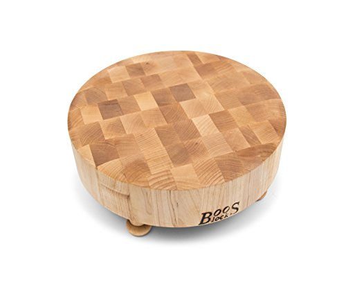 John Boos Raised Maple Wood Round End Grain Chopping Block with Tapered Feet, 12 Inches x 12 Inches x 3 Inches Boos Chopping Block