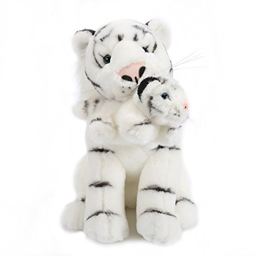 Lazada Plüsch Mum Tiger mit Baby Tiger Set Stofftier Spielzeug Weiß 28cm (Stofftier Weißer Tiger)
