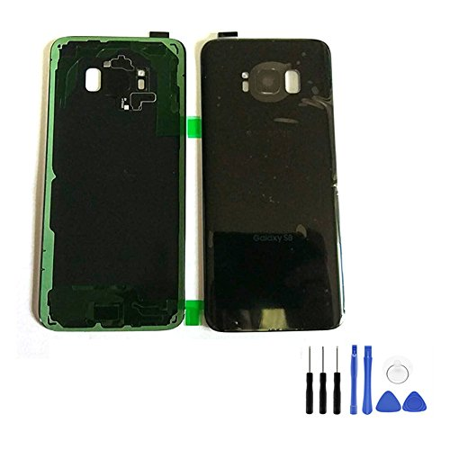 Für Samsung Galaxy S8Akku Cover-Galaxy S8Schwarz Hinten Glas Akku Tür Akkudeckel mit Kleber + Kamera Rahmen Ersatz Werkzeug (Passform für Alle Netzbetreiber)
