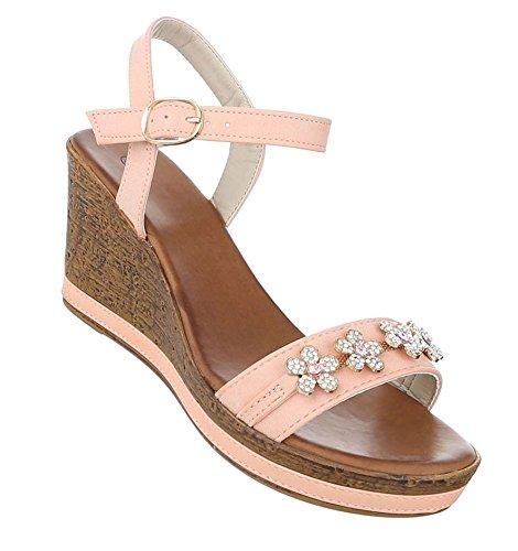 Damen Sandaletten Schuhe High Heels Keil Wedges Pumps Altrosa