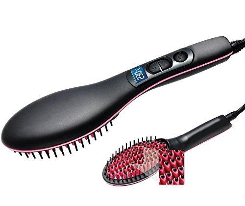 Mousand Haarglätter Bürste Glätten Elektrisch Haarbürste Glätteisen, Professionelle Anti Verbrühung Anti statisch Entwirren Haar Stylingkamm Digitaler Keramik seidige gerade Styling Massage Glätteisen