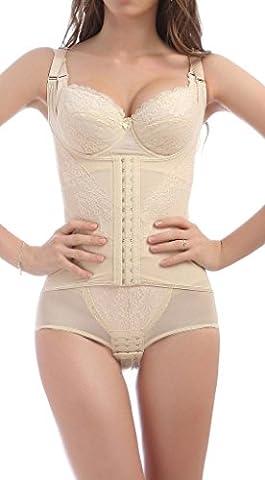 4How® Femme Combinaison Minceur Body Shapewear Camisole Gaine Amincissante, Beige, Taille XL