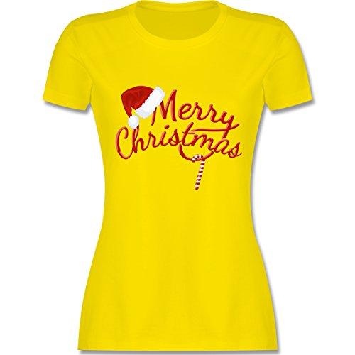 Weihnachten & Silvester - Merry Christmas Zuckerstange - tailliertes Premium T-Shirt mit Rundhalsausschnitt für Damen Lemon Gelb