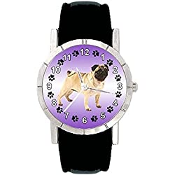 Reloj de silicona para mujer con piedrecillas y imagen de carlino