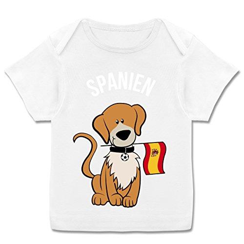 Shirtracer Fußball-Weltmeisterschaft 2018 - Baby - Fußball Spanien Hund - 56-62 (2-3 Monate) - Weiß - E110B - Kurzarm Baby-Shirt für Jungen und Mädchen in Verschiedenen Farben (Welpen-flag)