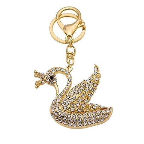 KesiErte Cute Metal Diamond Key Ring Creative Rhinestone Petit Swan Keychain Pendentif Petit cadeau ,