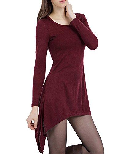 Damen Irregular Casual Loose Fit TShirt Tunika Kleid Langarmkleid Wein Rot