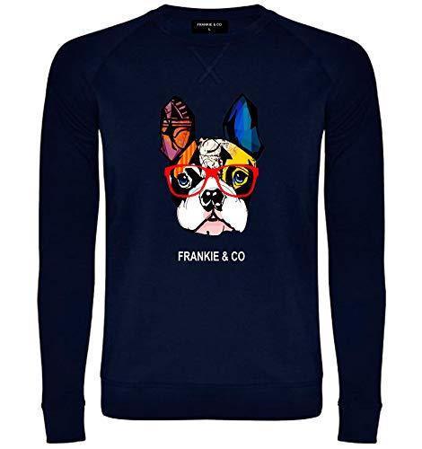 FRANKIE & CO Sudadera de Hombre Azul Marino Bulldog Francés - 100% algodón -...