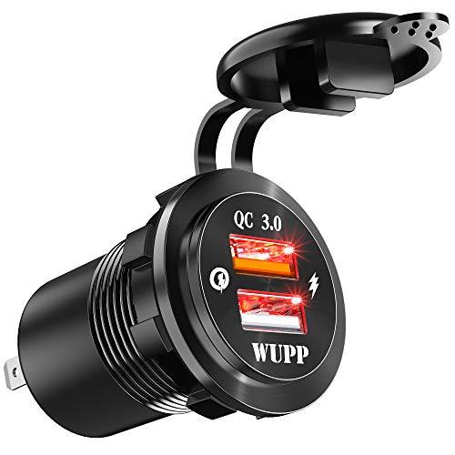 FishOaky Caricabatterie Auto Quick Charge 3.0, Impermeabile Presa USB Auto Ricarica Rapida, USB Dual Charger 12V-24V con LED, Alluminio QC 3.0 Presa USB per Auto Moto Barca Camper Camion GPS