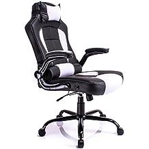 Aminiture de respaldo alto de cuero PU reclinable silla giratoria de carreras escritorio de la computadora de apoyo lumbar silla de oficina en casa
