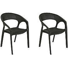 Nilkamal Club Set of 2 Plastic Chair (Charcoal Grey)