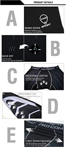 AMZSPORT Uomo di sport asciutto e freddo UX collant a Compressione Baselayer Leggings Skins Thermal pantaloni di formazione Pro per tutta la stagione