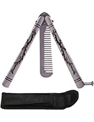 Mariposa cuchillo BALISONG práctica entrenador Trainning cuchillo peine herramienta no ofensiva hoja dragón plata, comb