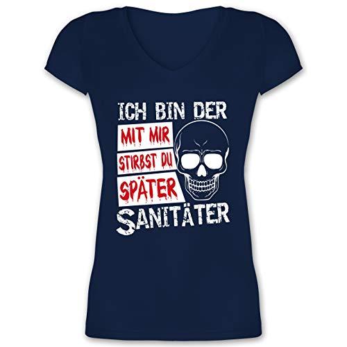 Kostüm Armee Sanitäter - Halloween - Mit Mir stirbst du später Sanitäter - weiß - XL - Dunkelblau - XO1525 - Damen T-Shirt mit V-Ausschnitt