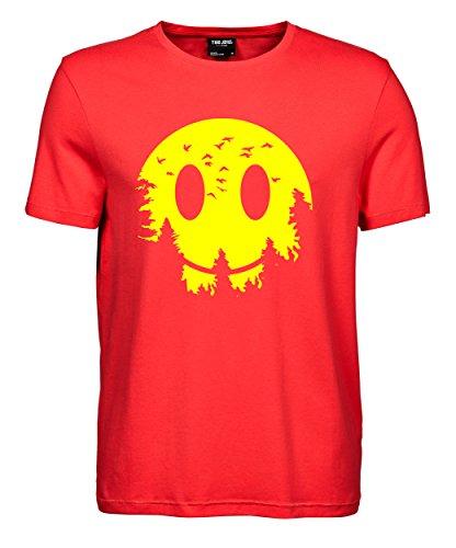 makato Herren T-Shirt Luxury Tee Smiley Moon Coral