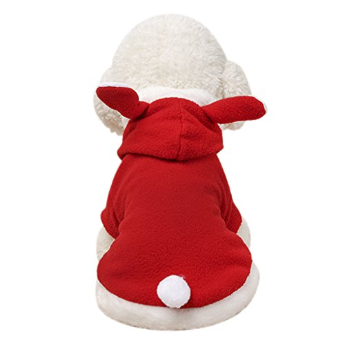 Hundemantel Hundekleid Super weich Fleece Hundejacke Hundepullover mit Kapuze in Kaninchen-Motiv Winter Herbst Hundebekleidung Weihnachten Hunde Kostüm Kleidung XS S M L (Leder Jacke Kostüme)