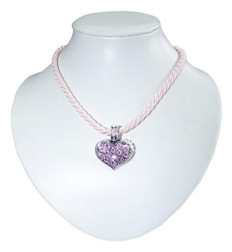 Dirndl Collier Rosa - Schöne Halskette mit Trachten Herz Anhänger - Swarovski Strass