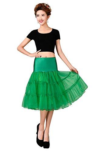 MicBridal® 1950s Braut Vintage Petticoat Unterrock Underskirt Crinoline für Rockabilly Kleid (One Size, Grün) (Braut Rock)