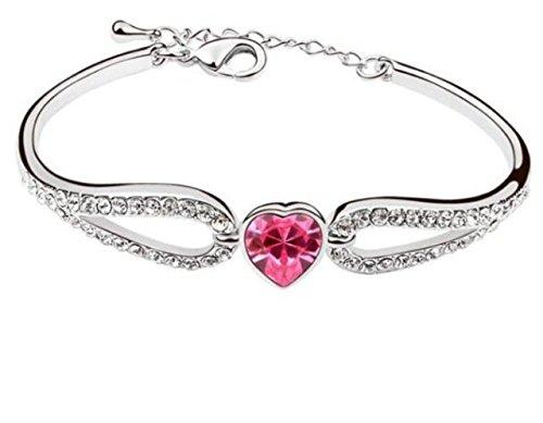 Da donna placcata oro rosa, motivo cuore, diamante Accent-Braccialetto con elementi di cristallo (Accent Diamante Bracciale)