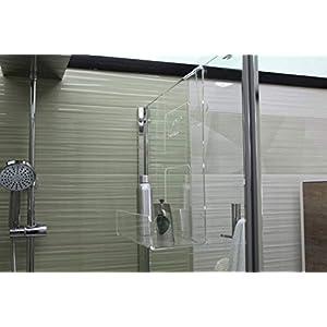 Jabonera de ducha de plexiglás con 2 ganchos para toallas – Estante para ducha – Cesta de colgar