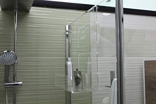 Portasapone doccia in plexiglass con 2 porta asciugamani -mensola per doccia - misure in cm 38,8x22xh47,5