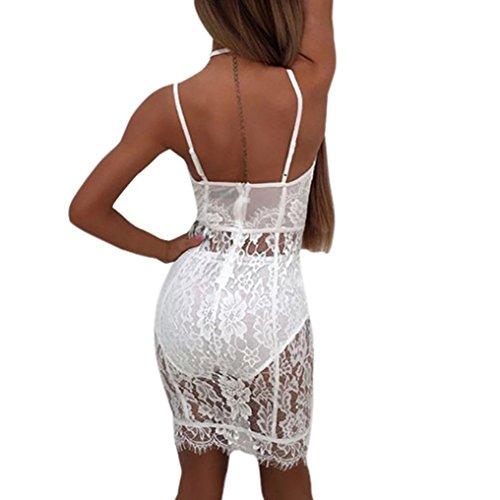 Harness bra BYSTE Sexy affascinante Pizzo prospettiva Vestito + Mutandine Impostato bianca