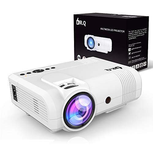 DR.Q 3600 Lumens Proyector, mini Proyector, 50000 Horas, Proyector de Vídeo compatible con 1080P, Conexión con dispositivo de TV Stick HDMI VGA USB, con HDMI y Cable AV, Blanco.