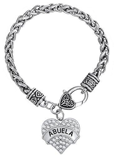 Pulsera de plata envejecida con cadena de trigo en forma de corazón para abuela, joyería de regalo para abuelo