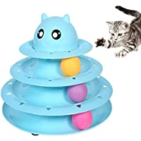 VIKEDI Katze Rolle Spielzeug, Interaktiv Katze Turm Ball Spielzeug, Spaß 3-Level Turm Bälle & Spur Spielzeug, Haustier Katze Spielzeug Spiel und Übung für Kätzchen, Katzen Teaser Kitty Spielzeug