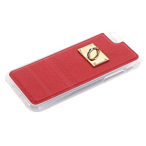 Phone case & Hülle Für IPhone 6 Plus / 6s Plus, PU Paste Haut TPU Schutzhülle mit Fox Anhänger ( Color : Black ) Red