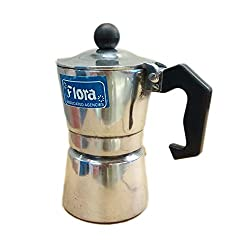 Flora Brand Mini Aluminum 6 Cups (150ml) South Indian Filter Degree Kaapi/Coffee Machine or Percolator Or Italian Espresso Maker Or Decoction Coffee Maker Cup or Moka/Mocha Pot