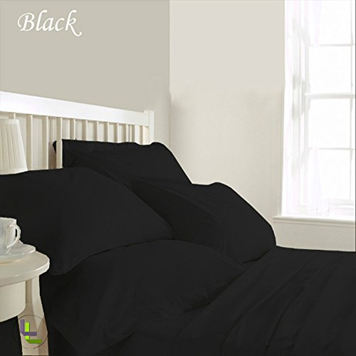RoyalLinens 500TC 100% ägyptische Baumwolle elegant Finish 6 Wasserbett Bettlaken-Set massiv (Pocket Größe: 48,3 cm), Baumwolle, Black Solid, UK_Small_Double