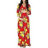 MRULIC Schwangerschaft V-Kragen Langarm Kleid Mutterschaft Blumendruck Sommerkleid(Rot,S)