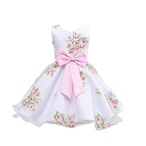 Cutelove Girls Sleeveless Floral Bowknot Princess Dress Ball Gown Formal Party
