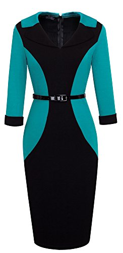 HOMEYEE Der eleganten Farben Block Revers 3/4 der Frauen formales Büro Damen tragen Kleid B354 (EU 40 = Size L, Türkis) (Mutter Türkis Der Kleid Braut)