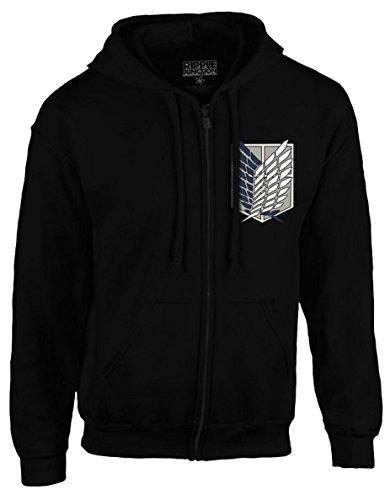 Attack On Titan Survey Corps Logo Black Zip-Up Hoodie Sweatshirt