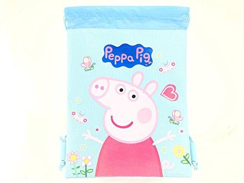 Peppa Pig Kordelzug String Rucksack Sling Tasche, Baby - Mädchen Mädchen, Blau, Large