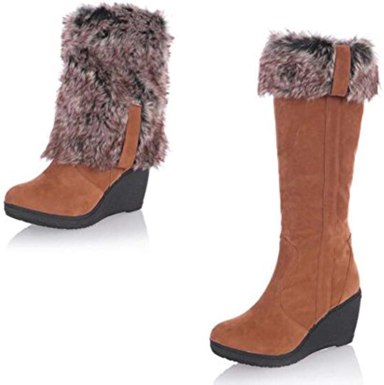 Botas de nieve 8 cm de las mujeres talón de la cuña del dedo del pie redondo rodilla Botas altas dulce cálido...
