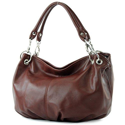 modamoda de - ital. Ledertasche Damenhandtasche Damentasche Schultertasche Nappaleder IT40, Präzise Farbe:Kastanie (Handtasche Italienische)
