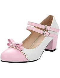 ba9b6728e56602 Damen Blockabsatz High Heels Riemchen Pumps mit Schleife Lolita Cosplay  Rockabilly Schuhe