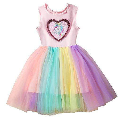 mama stadt Kleid Mädchen Einhorn Tulle Party Geburtstag Prinzessin Tutu Kleider 120/4Y (Für Kinder Party-stadt Halloween Bei Kostüme)