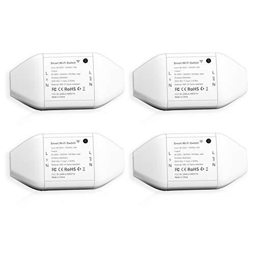 Meross Intelligente WLAN Schalter Universal Smart Switch Fernbedienung mit Sprachsteuerung mit Alexa, Google Assistant und IFTTT, DIY Smart Home für elektrische Haushaltsgeräte, MSS710QUA, 4 Stücke - Netzwerke, Wireless-bundle
