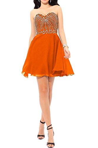 Charmant Damen Festlich pailletten Herzausschnitt Cocktailkleider Partykleider Tanzenkleider Chiffon Sommer Rock Orange