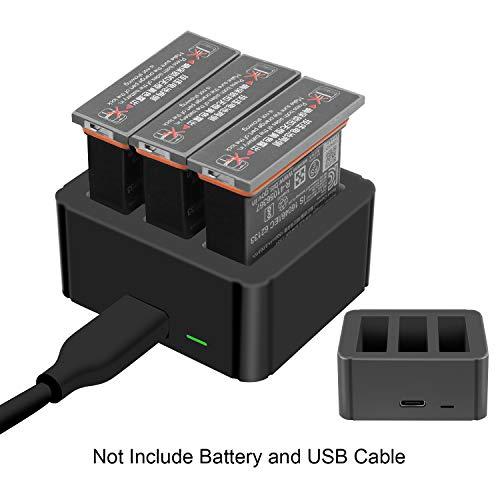 TUTUO 3 in 1 Batterie Ladegerät für DJI OSMO Action, Schnellladegerät Multi Batterie Dock Ladestation für DJI OSMO Action