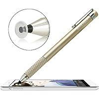 Kmoso® precisión punta fina lápiz capacitivo extremadamente fina puntas con transparente Disc lápiz capacitivo lápiz para pantalla táctil dispositivos (con 3 discos de sustitución gratuita) (oro)