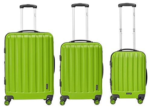 Packenger Velvet, ens. de 3 valises à roulettes, coque dure, en vert clair, tailles M, L et XL