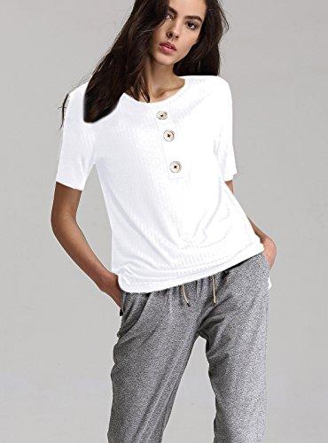 Escalier Femmes T-Shirt Basique en Coton Col rond Manches Courtes Boutonné Blouse Tops Blanc