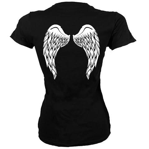 Black Skinny Fit Large (UK 12 - 14) Angel Wings Ladies T-shirt