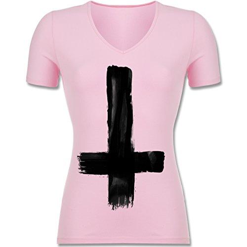 Symbole - Umgedrehtes Kreuz Vintage - Tailliertes T-Shirt mit V-Ausschnitt für Frauen Rosa